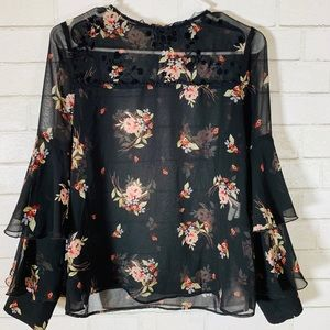 Zara Floral Blouse with flutter sleeve